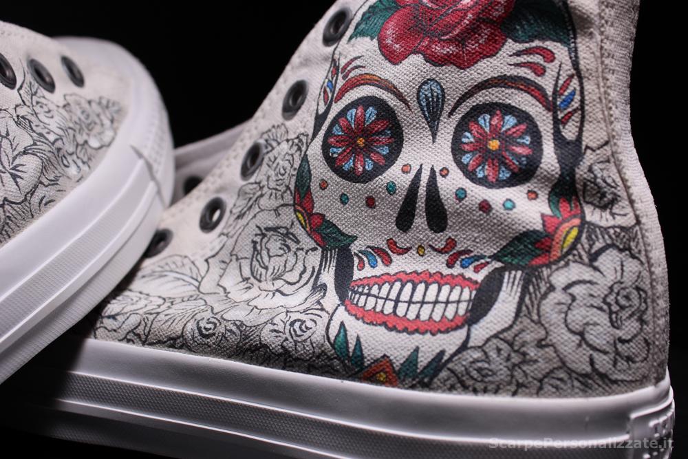 converse-monochrome-personalizzate-teschio-messicano-rose-2
