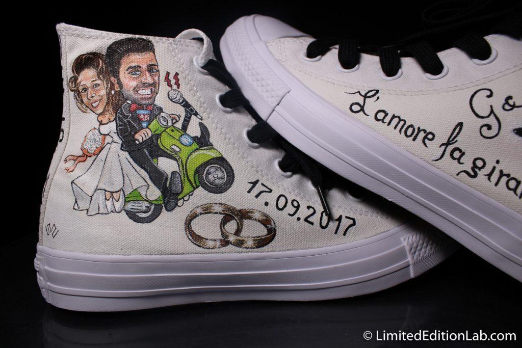 Matrimonio In Converse : Converse matrimonio caricatura sposi vespa scarpe